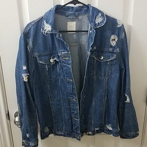 Zara trf distressed jean jacket